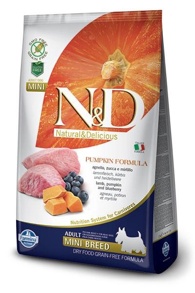 Farmina N&D GF PUMPKIN ( 7кг) д/с мини Ягнёнок Черника Тыква (lamb blueberry) Adult Mini Kormberi.ru магазин товаров для ваших животных