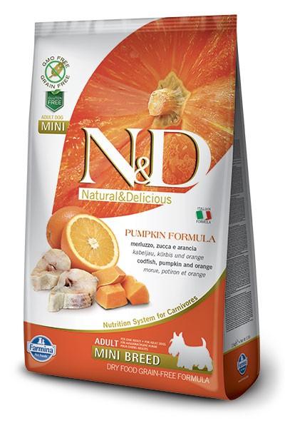 Farmina N&D GF PUMPKIN (  800г) д/с мини Треска Апельсин Тыква (gudfish orange) Adult Mini Kormberi.ru магазин товаров для ваших животных