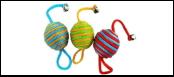 Мяч 4см с колоколь. полосатый нейлон шнур ИУ86 (уп 20) Kormberi.ru магазин товаров для ваших животных