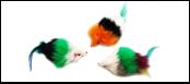 Мышь-погремушка пушист. натур. крол. мех цв. с пером 7,5см ИУ44 Kormberi.ru магазин товаров для ваших животных