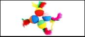 Мяч 4см двухцветный с перьями ИУ67 Kormberi.ru магазин товаров для ваших животных