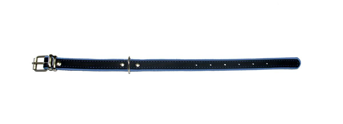 """ошейник """"Фетр"""" 20 черный/голубой оф20г (32-44 см х 20 мм) Kormberi.ru магазин товаров для ваших животных"""