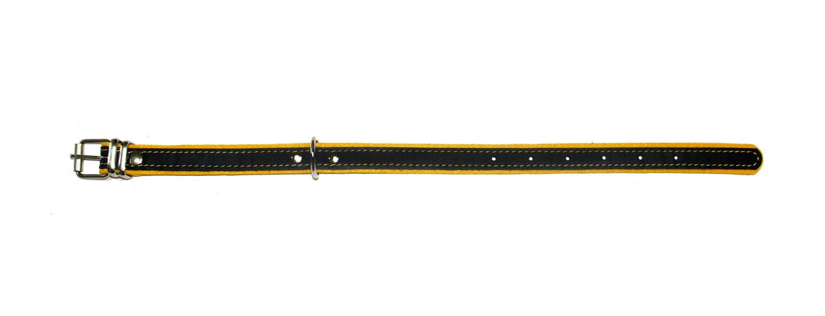 """ошейник """"Фетр"""" 20 черный/желтый оф20ж (32-44 см х 20 мм Kormberi.ru магазин товаров для ваших животных"""