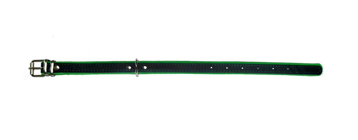 """ошейник """"Фетр"""" 20 черный/зеленый оф20з (32-44 см х 20 мм) Kormberi.ru магазин товаров для ваших животных"""