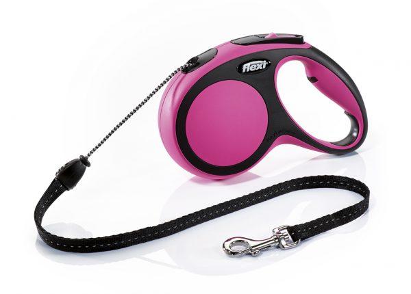 Флекси 5 м 20 кг New Comfort cord М розовая (pink) рулетка-Трос Kormberi.ru магазин товаров для ваших животных