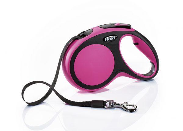 Флекси 5 м 25 кг New Comfort tape М розовая (pink) Рулетка-ремень Kormberi.ru магазин товаров для ваших животных