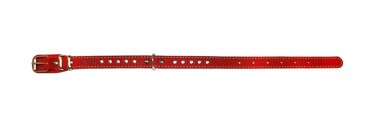 ошейник 20п красный о20пкр подклад из мягкой ткани, декоративная строчка (32 - 44 см x 20 мм) Kormberi.ru магазин товаров для ваших животных