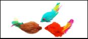 Мышь-погремушка пушист. натур. крол. мех с пером 6,25см ИУ43 Kormberi.ru магазин товаров для ваших животных