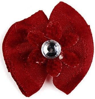 Заколка РА4 с бордовым цветком с золотом Kormberi.ru магазин товаров для ваших животных