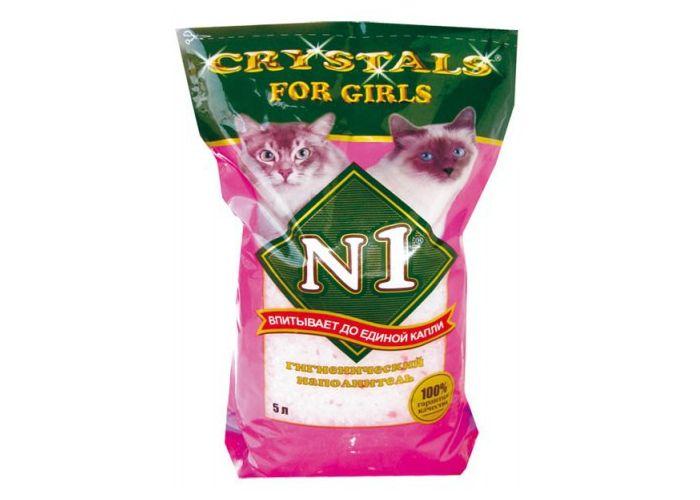 """Наполнитель """"№1"""" Cristals- For Girls (силикагелевый) розовый 12,5л (уп4) Kormberi.ru магазин товаров для ваших животных"""