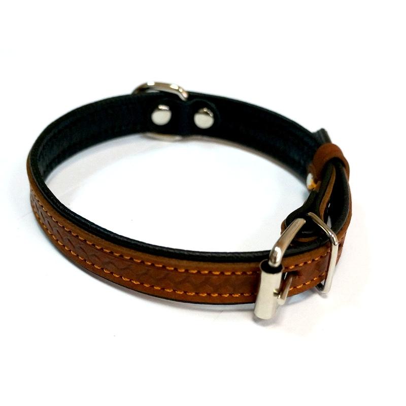 Ошейник  15мм тиснение коричневый HIGHT LINE 1312К Kormberi.ru магазин товаров для ваших животных