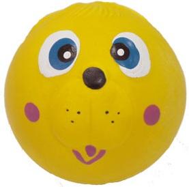 №1 №1 Игрушка д/собак Мяч-мордашка жёлтый с пищалкой латекс 6см ЛС26 Kormberi.ru магазин товаров для ваших животных