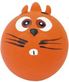 №1 №1 Игрушка д/собак Мяч-мордашка оранжевый с пищалкой латекс 6см ЛС24 Kormberi.ru магазин товаров для ваших животных