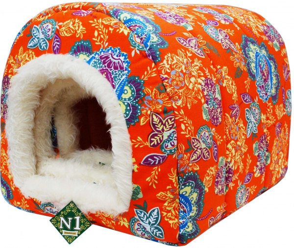 №1 №1 Лежанка Фэшн 8103341/1 лежак домик оранж.мех внутри 37*27*27см Kormberi.ru магазин товаров для ваших животных