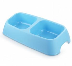 Миска двойная прямоугольная 2*700 мл голубая 1*60шт МАК63 Kormberi.ru магазин товаров для ваших животных