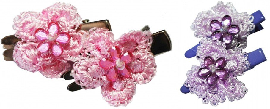 Заколка РА16 с розовым/сиреневым цветком с камнем в центре Kormberi.ru магазин товаров для ваших животных