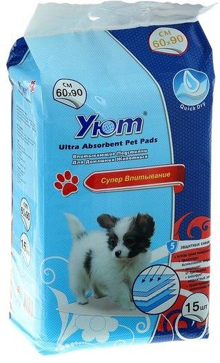 """Пеленки впитывающие гелевые """"Уют"""" XL (60*90см) (уп1) 15 шт в уп Kormberi.ru магазин товаров для ваших животных"""