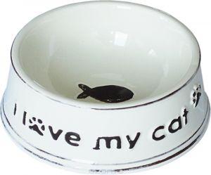 """№1 Миска керам. стилизованная под старину """"I love mi cat"""" 12,5*5см (уп48) МКР1291 Kormberi.ru магазин товаров для ваших животных"""
