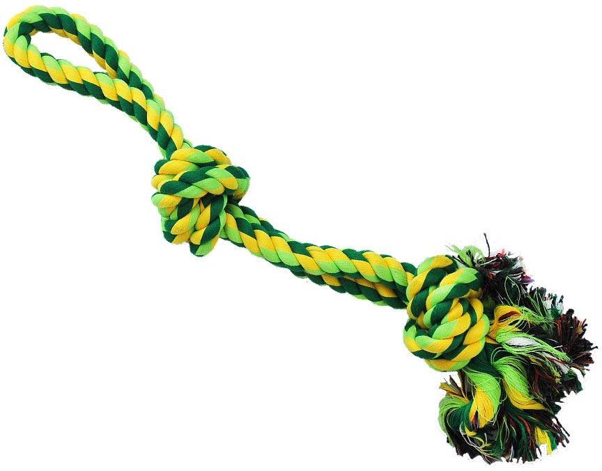 №1 Грейфер веревка плетеная с двумя узлами и ручкой 40см ГР341 Kormberi.ru магазин товаров для ваших животных