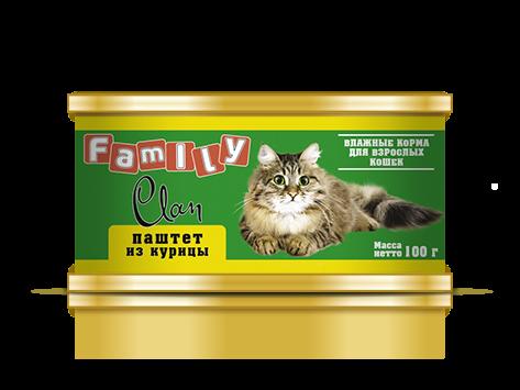CLAN FAMILY для кошек паштет Курица 100 гр Kormberi.ru магазин товаров для ваших животных