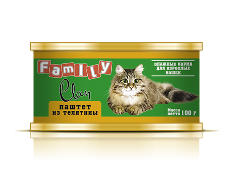 CLAN FAMILY для кошек паштет Телятина Kormberi.ru магазин товаров для ваших животных