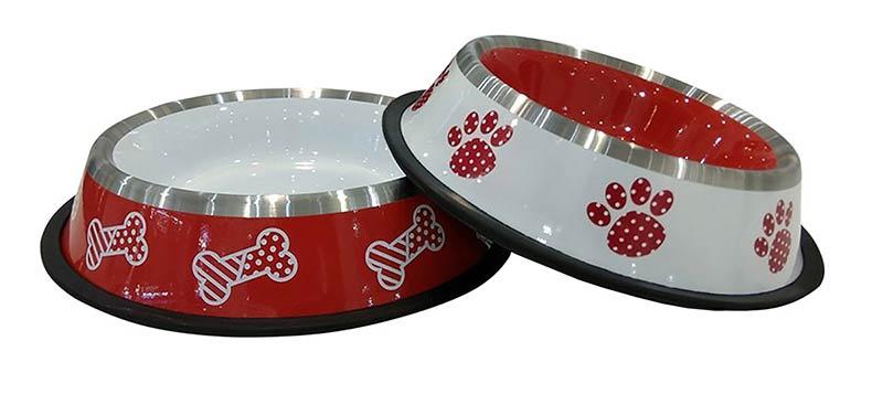 """Миска на резинке  № 1 дизайн """"лапки"""" и """"косточки"""" (0,45 л) Kormberi.ru магазин товаров для ваших животных"""