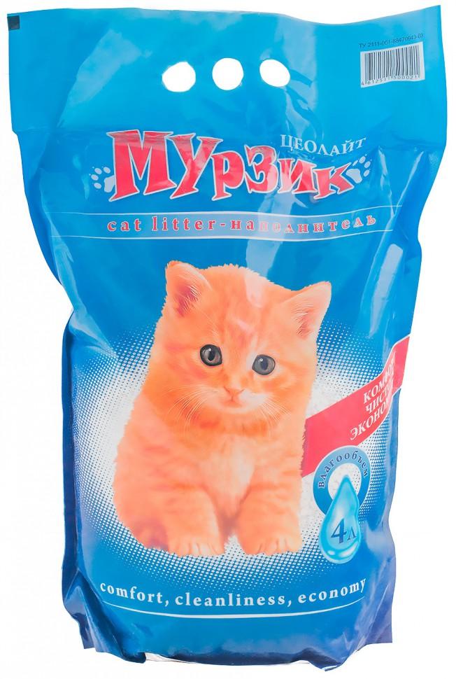 """Мурзик """"Мурзик - Цеолайт"""" 4 л. Наполнитель впитывающий, силикоцеолит (уп4) Kormberi.ru магазин товаров для ваших животных"""