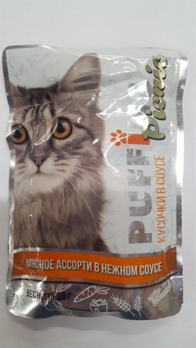 PUFFINS Puffins picnic (85г) д/к соус Мясное ассорти (уп26) Kormberi.ru магазин товаров для ваших животных