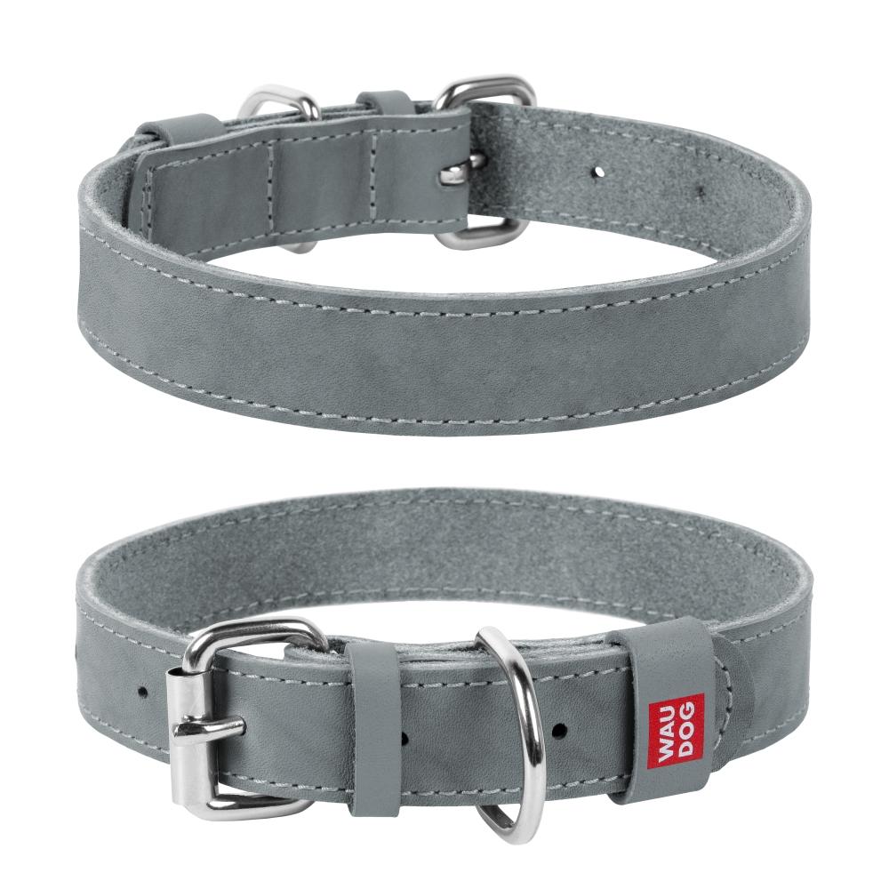 Collar Ошейник WAUDOG Classic, кожа, металлическая пряжка (ширина 25 мм, длина 38-49 см) серый 021811 Kormberi.ru магазин товаров для ваших животных