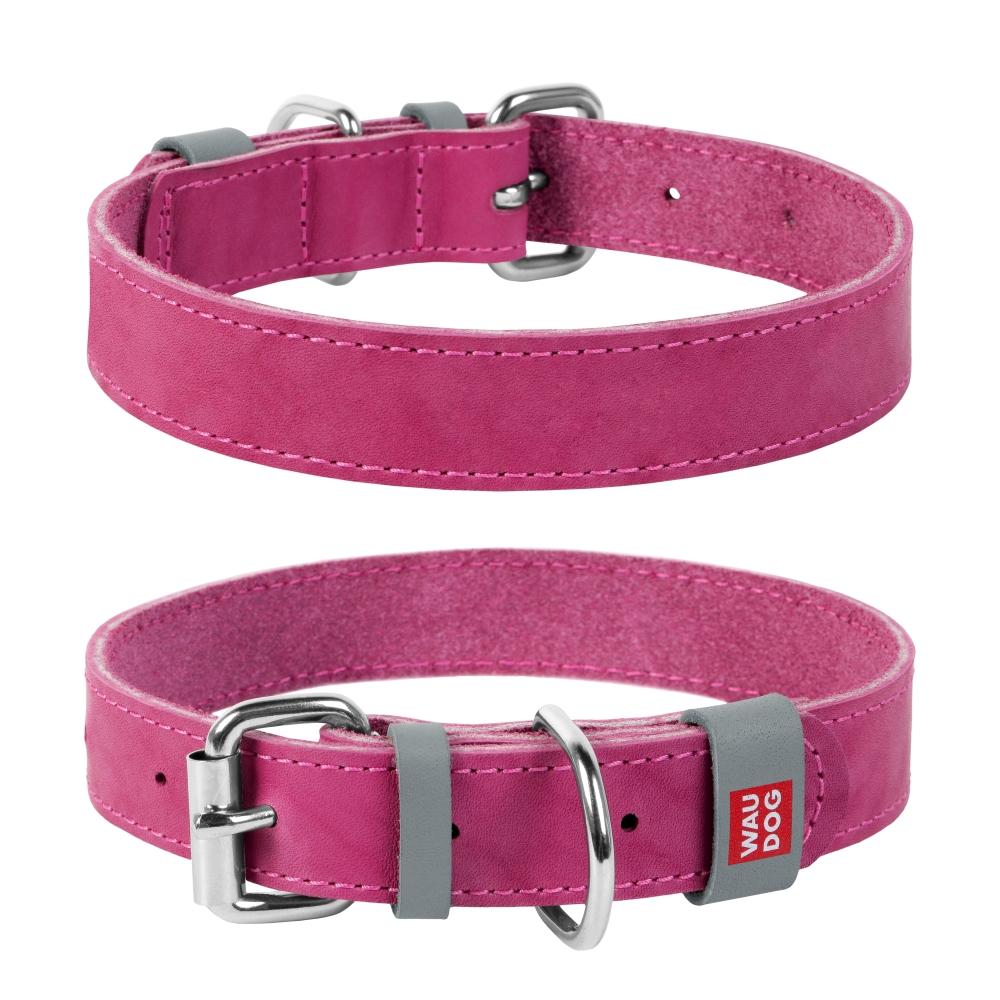 Collar Ошейник WAUDOG Classic, кожа, металлическая пряжка (ширина 15 мм, длина 27-36 см) розовый 02077 Kormberi.ru магазин товаров для ваших животных