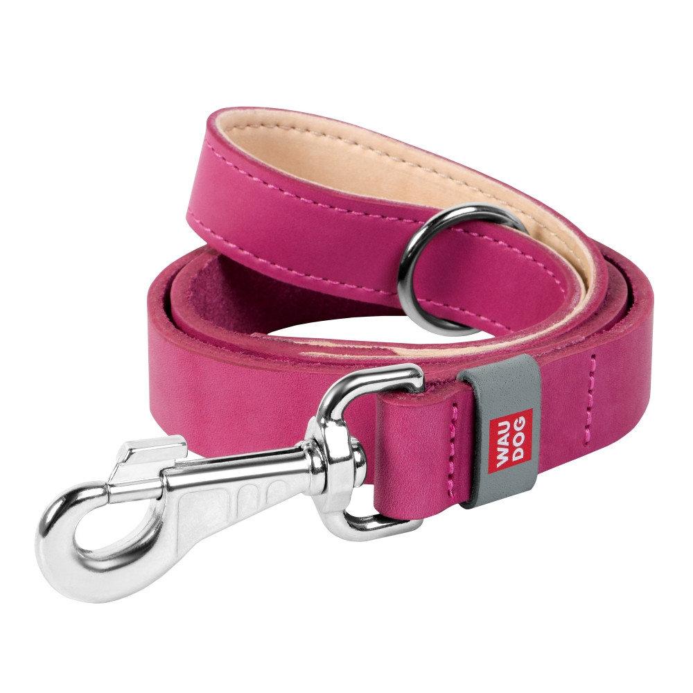 Collar Поводок WAUDOG Classic, кожа, стандартный карабин (ширина 14 мм, длина 122 cм) фиолетовый 08139 Kormberi.ru магазин товаров для ваших животных