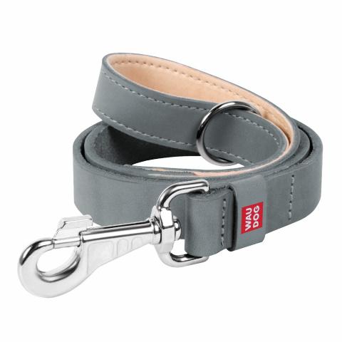 Collar Поводок WAUDOG Classic, кожа, стандартный карабин (ширина 14 мм, длина 122 cм) серый 081311 Kormberi.ru магазин товаров для ваших животных