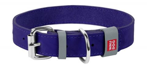 Collar Ошейник WAUDOG Classic, кожа, металлич. пряжка (ширина 20 мм, длина 30-39 см) фиолетовый 02179 Kormberi.ru магазин товаров для ваших животных