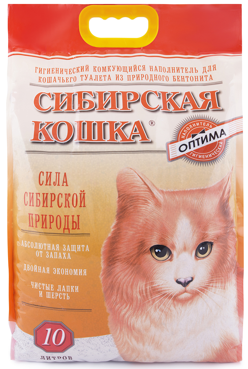 Сибирская кошка СИБИРСКАЯ КОШКА наполн. 10л ОПТИМА (комкующийся) Kormberi.ru магазин товаров для ваших животных