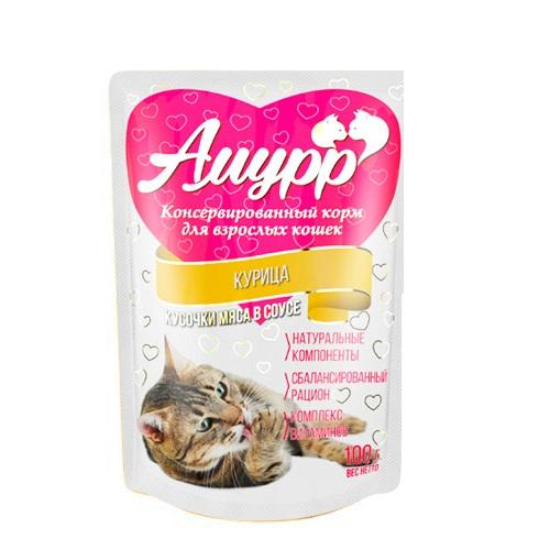 Амурр Амурр для кошек в соусе Курица 100 гр Kormberi.ru магазин товаров для ваших животных