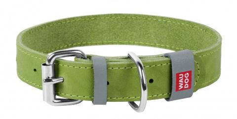 Collar Ошейник WAUDOG Classic, кожа, металлич. пряжка (ширина 25 мм, длина 38-49 см) салатовый 02185 Kormberi.ru магазин товаров для ваших животных