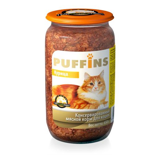 PUFFINS Puffins для кошек ст/б Курица 650 гр Kormberi.ru магазин товаров для ваших животных