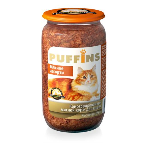 PUFFINS Puffins для кошек ст/б Мясное ассорти 650 гр Kormberi.ru магазин товаров для ваших животных