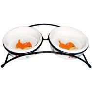№1 №1 Подставка с 2 керамическими мисками 12,5*4,5см МКР845 Kormberi.ru магазин товаров для ваших животных