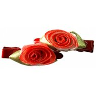 Заколка РА35 с красной розой из ленты Kormberi.ru магазин товаров для ваших животных