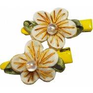 Заколка РА21 желтая цветок из фетра с бусинкой Kormberi.ru магазин товаров для ваших животных