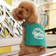 Dobaz Куртка без руковов, зеленая вставка вверху в клетку L ДА13047БЛ Kormberi.ru магазин товаров для ваших животных
