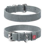 Collar Ошейник WAUDOG Classic, кожа, металлическая пряжка (ширина 35 мм, длина 46-60 см) серый 023911 Kormberi.ru магазин товаров для ваших животных